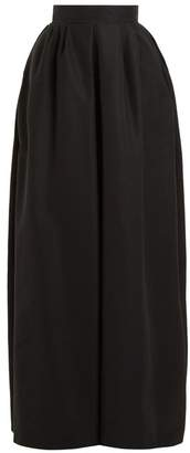 Rochas Pleat Detail Cotton Blend Maxi Skirt - Womens - Black