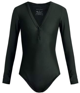 Matteau - The Long Sleeve Maillot Swimsuit - Womens - Dark Green