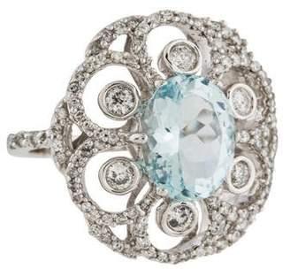 Effy Jewelry 14K Aquamarine & Diamond Cocktail Ring