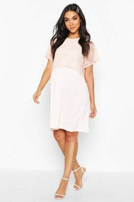 boohoo Maternity Double Layer Lace Shift Dress