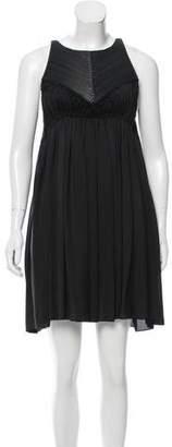 Bottega Veneta Leather-Accented Silk Dress