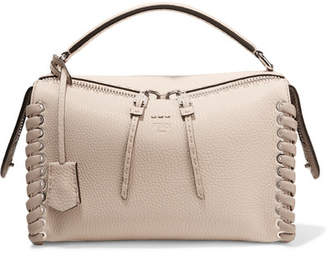 Fendi Lei Two-tone Textured-leather Tote - Ivory