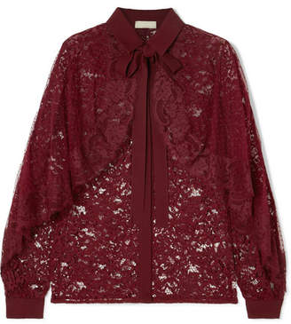 Elie Saab Cape-effect Lace And Swiss-dot Tulle Blouse - Burgundy