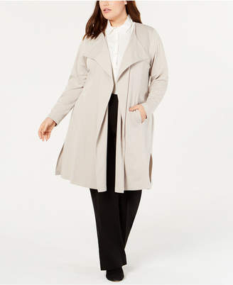 Belldini Plus Size Ponte Trench Jacket