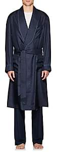 Barneys New York Men's Polka Dot Silk Twill Robe - Navy