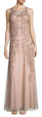 Adrianna Papell Embellished Sleeveless A-Line Gown