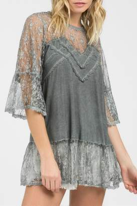 POL Lace Grey Top
