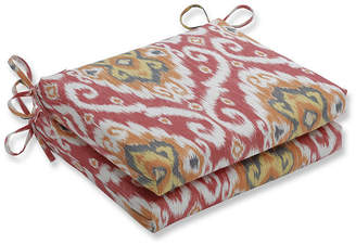 PILLOW PERFECT Pillow Perfect Set of 2 Ubud Coral Squared Corners Patio Seat Cushion