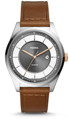 Fossil Mathis Three-Hand Date Light Brown Leather Watch