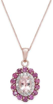 Macy's Multi-Gemstone (1-7/8 ct. t.w.) & Diamond (1/6 ct. t.w.) Pendant Necklace in 14k Rose Gold