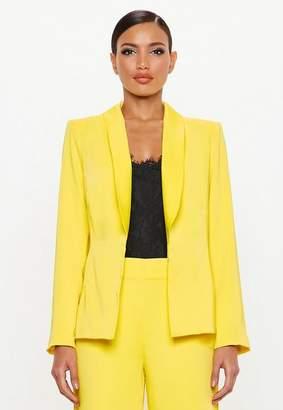 Missguided Yellow Satin Back Tux Blazer