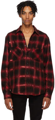 Amiri Red and Black Glitter Plaid Shirt