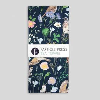 Particle Press Garden Song Thrush And Floral Tea Towel