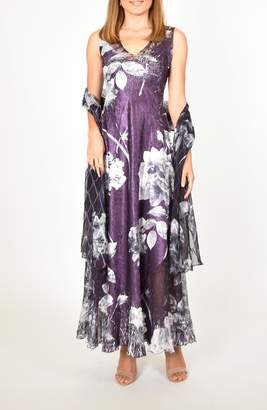 Komarov Lace-Up Floral Maxi Dress with Shawl