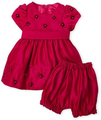 Couture Princess (Newborn Girls) Two-Piece Beaded Holiday Dress & Shorts Set
