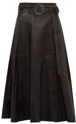 Golden Goose Akemi Belted A Line Leather Midi Skirt - Womens - Black