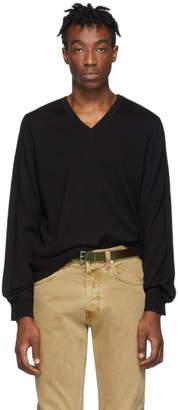 Maison Margiela Black Gauge 12 Jersey V-Neck Sweater