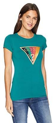 GUESS Women's Short Sleeve Rainbow Glitter Logo T-Shirt