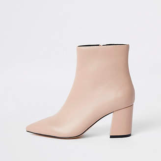 River Island Pink pointed block heel boots