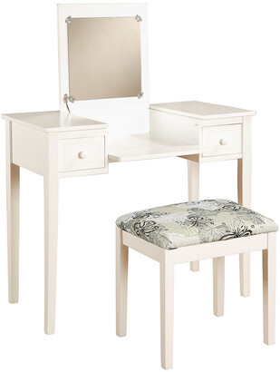 Linon White Butterfly Vanity And Stool