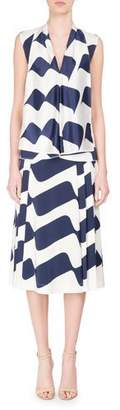 Victoria Beckham Sleeveless Draped Wave-Print Silk Top, Blue/White