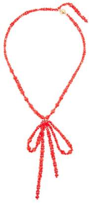 Simone Rocha - Bow Pendant Beaded Necklace - Womens - Red
