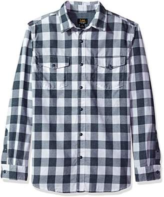 Lee Men's Long Sleeve Heathered Button Down Shirt