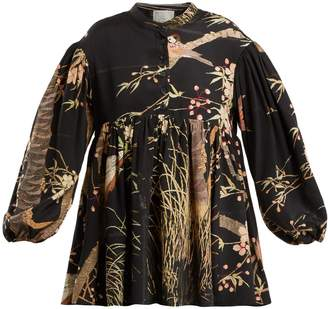 BY WALID Theresa Cherry Blossom-print silk top