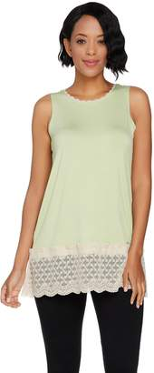 Logo By Lori Goldstein LOGO Layers by Lori Goldstein Solid Tank with Scalloped Lace Details