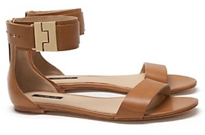 Rachel Zoe Golden Clasp Ankle Flat Sandal: Tan