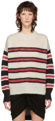 Etoile Isabel Marant White and Black Mohair Russel Sweater