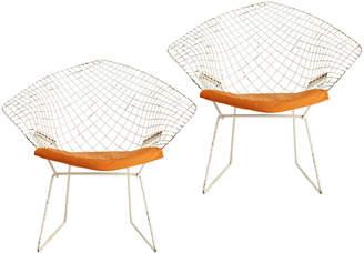 Rejuvenation Pair of Bertoia Diamond Chairs w/ New Pads