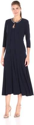 Alex Evenings Women's 2 Pc T-Length Jacket Dress with Sequin Beaded Trim