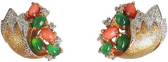 One Kings Lane Vintage Jomaz Faux-Emerald & Faux-Coral Earrings