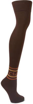 Chloé Intarsia Cotton-blend Over-the-knee Socks - Brown