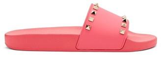 Valentino Rockstud Rubber Slides - Womens - Pink