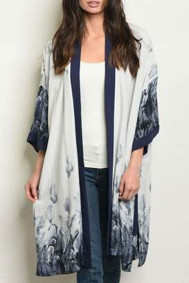 Fate By Lfd Feather Grey/navy Kimono