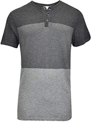 Calvin Klein Jeans Men's Short Sleeve Henley Tri Color Block Shirt