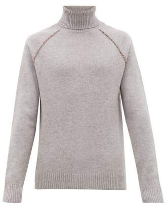 Alanui Palm Tree Embroidered Roll Neck Cashmere Sweater - Mens - Grey