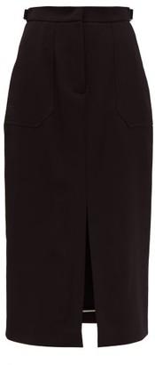 Fendi Wool Gabardine Midi Skirt - Womens - Black