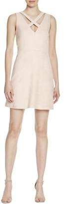 WAYF Womens Faux Suede Criss-Cross Front Evening Dress