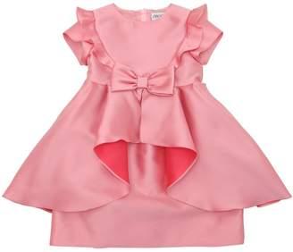 Simonetta Ruffled Satin Party Dress W/ Bow