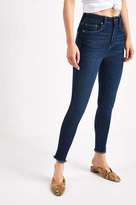 Free People Womens Dark Wash Raw High Rise Jeans - Blue