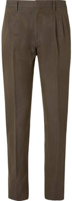 Zanella Newton Slim-fit Pleated Herringbone Cotton And Linen Blend Trousers - Dark green