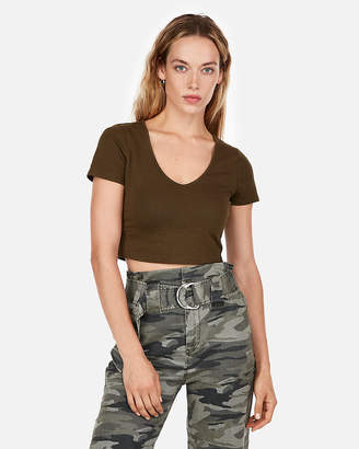 Express One Eleven V-Neck Cropped Top