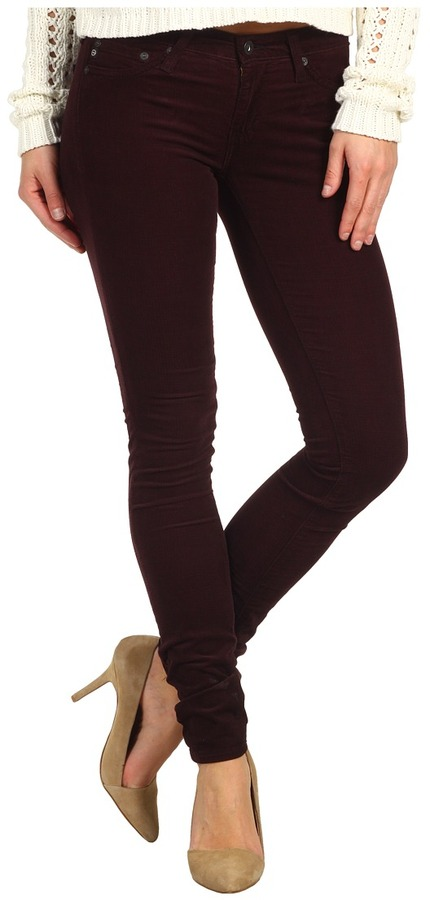 AG Adriano Goldschmied The Legging Houndstooth Velvet Corduroy (Houndstooth Wine) - Apparel