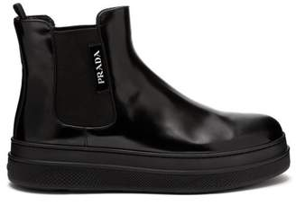 Prada Chunky Sole Leather Ankle Boots - Womens - Black