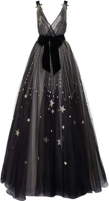 Monique Lhuillier V-Neck Star Embellished Gown With Velvet Bow Belt