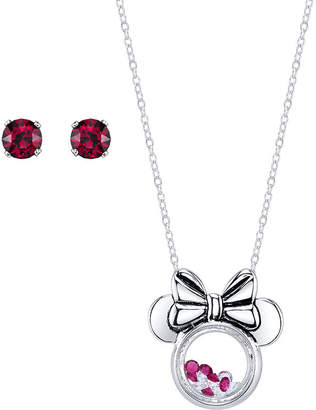 Disney Red Silver Tone Pure Silver Over Brass Minnie Mouse Jewelry Set
