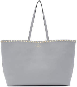 Valentino Grey Garavani Small Rockstud Shopper Tote